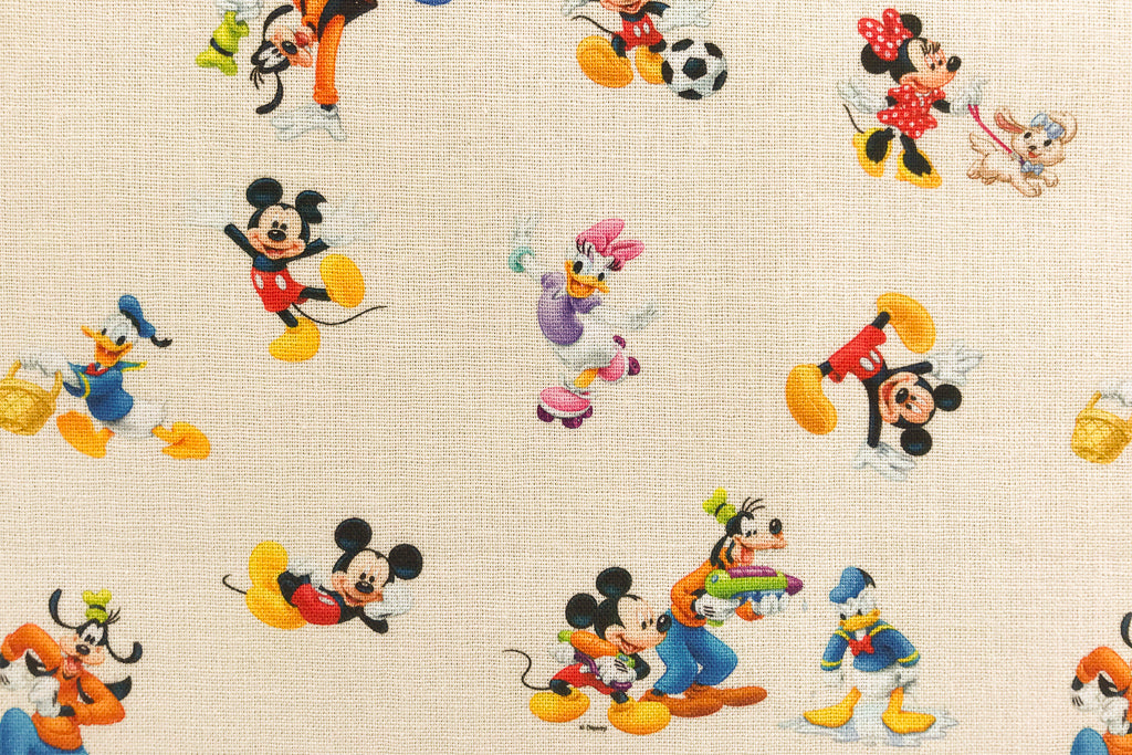 Mickey Mouse Fabric - With Friends Donald Duck, Goofy, Daisy Duck and Minnie Mouse. 100% Cotton, Cream Background.