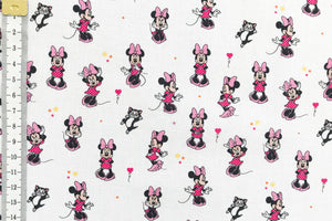 Disney Minnie Mouse Fabric - With Figaro the Cat. White Background and 100% Cotton.