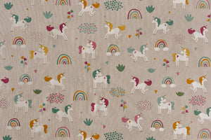 Unicorn Rainbows Fabric - Fun Children's Design on a Linen-Look Fabric
