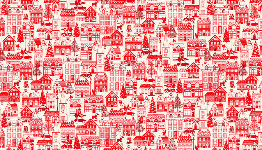 Scandi Red Houses Fabric - Christmas Town. 100% Cotton by Makower