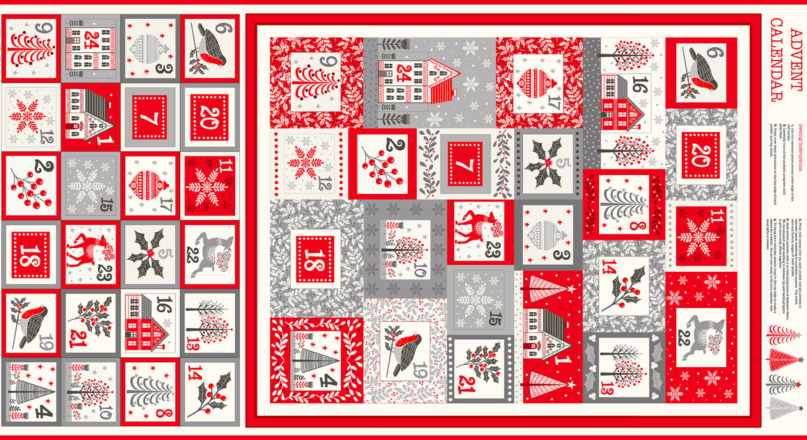 Scandi Advent Calendar Fabric Panel - Make Your Own