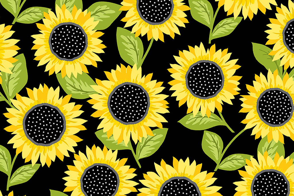 Sunflowers Black Fabric - From the Sunny Bee Collection by Makower. Bright Sunflowers on a Black Background.