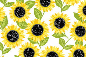 Sunflowers White Fabric - From the Sunny Bee Collection by Makower.  Bright Sunflowers on a White Background.