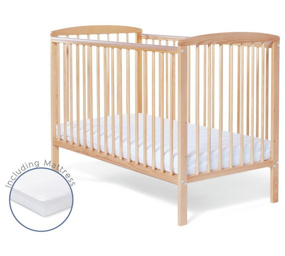 Wooden Cot with Mattress and Fitted Sheet