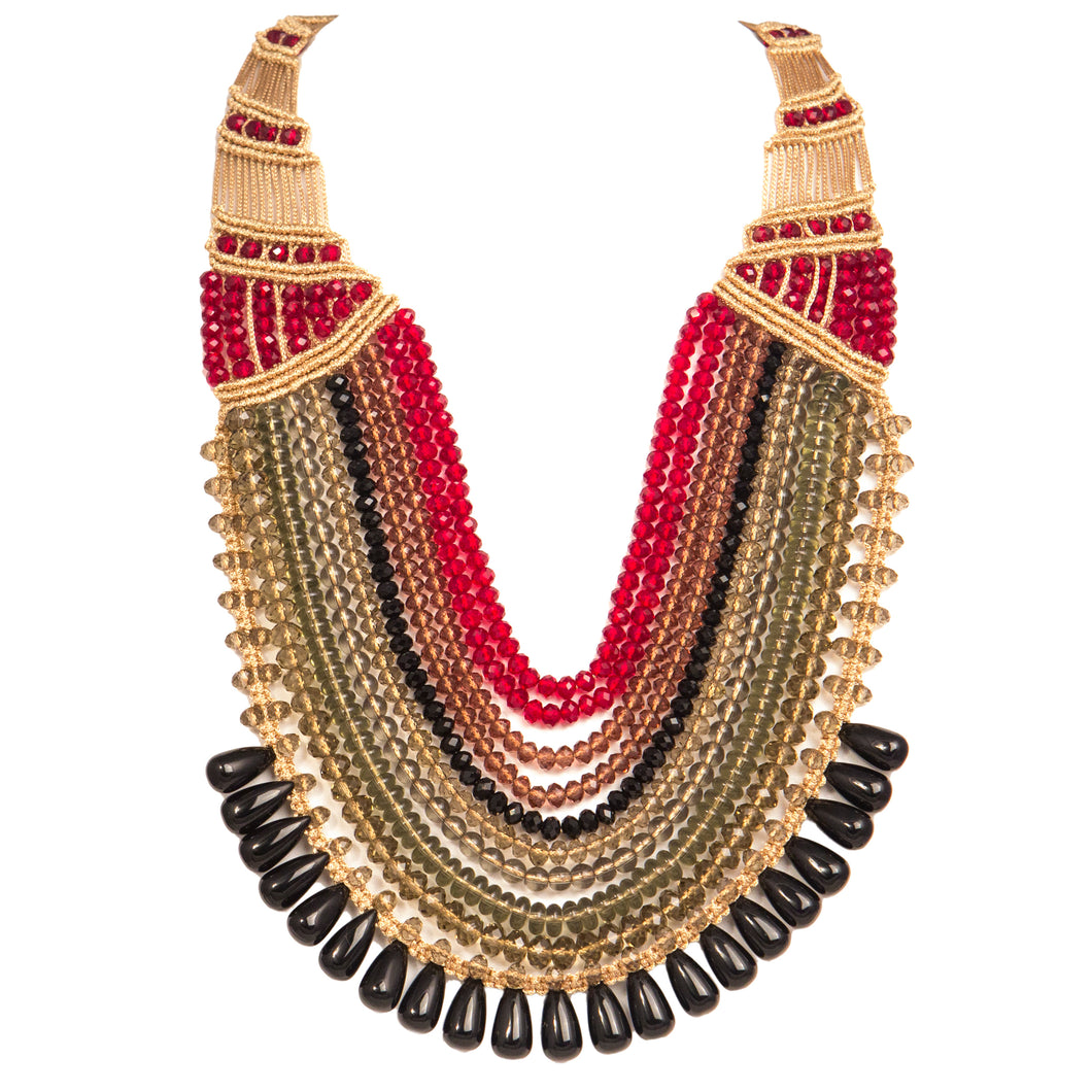 Ten String Rani Necklace 1001 Black Red