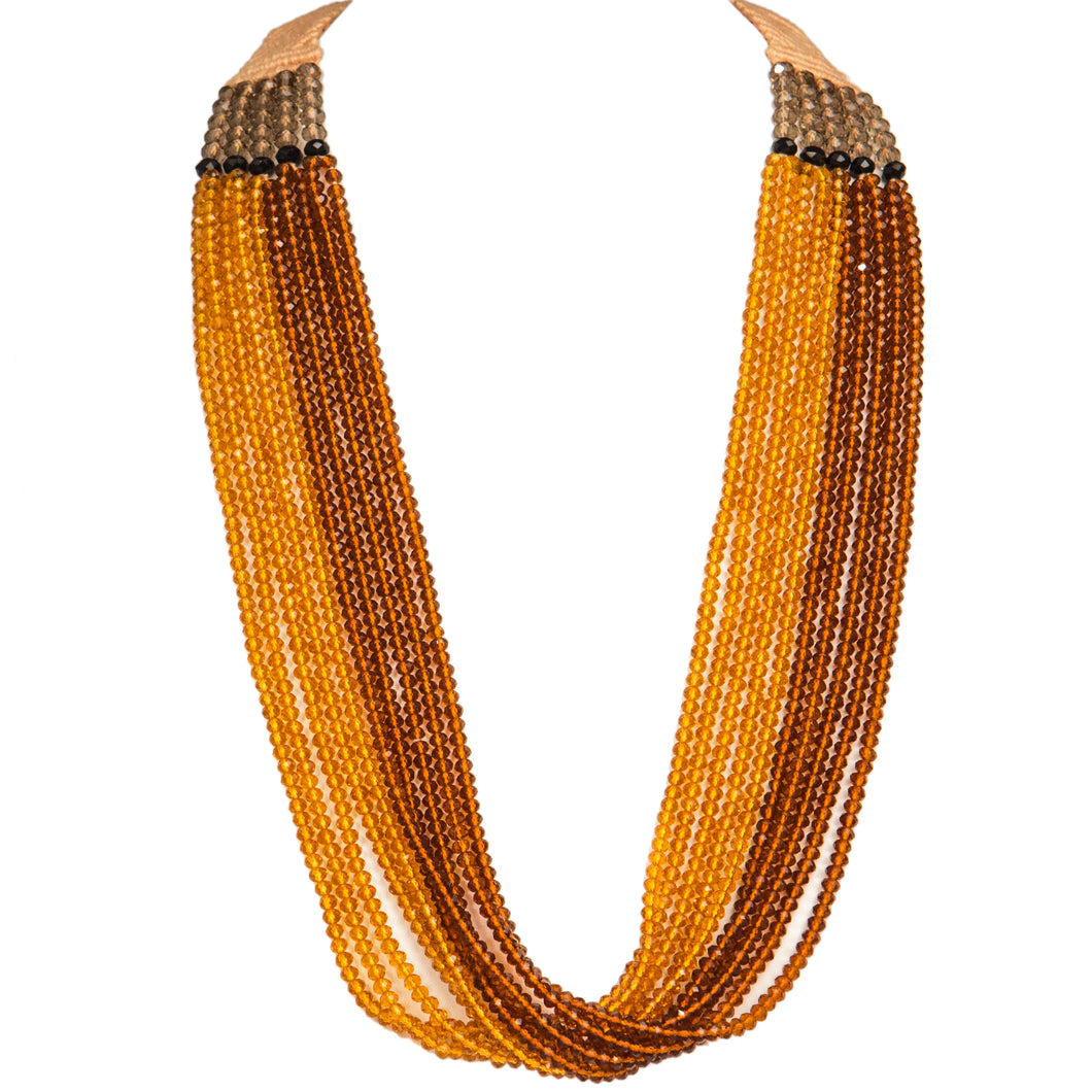 Ten String Twirl Necklace 0202 Amber