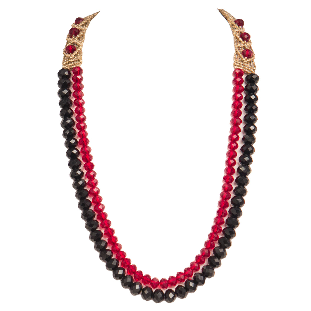 Two String Graded Necklace 1001 Black Red