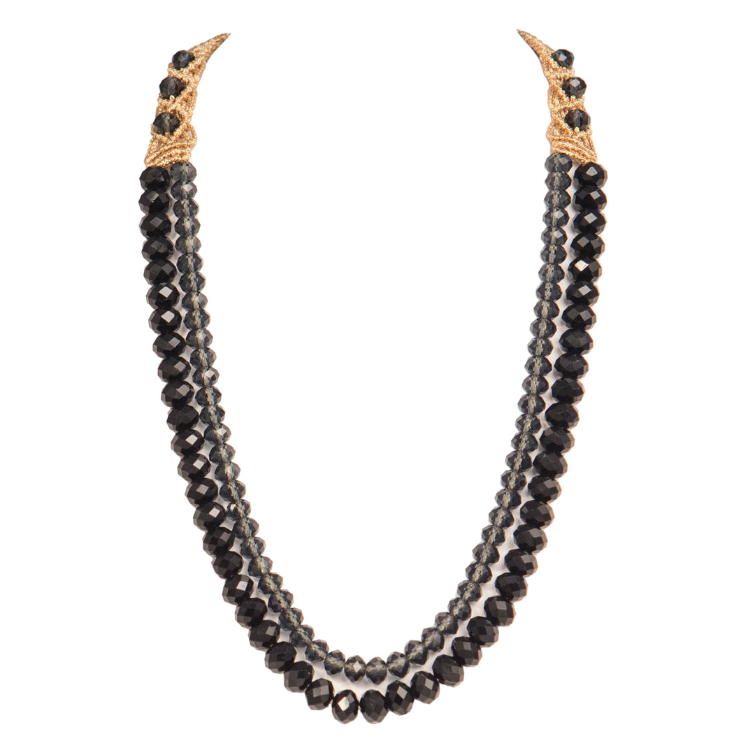 Two String Graded Necklace 1008 Black Montana