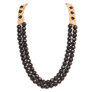 Two String Jaded Necklace 1010 Black