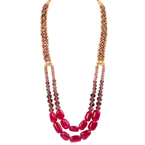 Two String Regal Necklace 01 Ruby