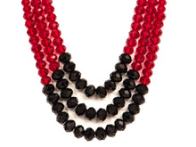 Three String Vivid Necklace 01 Red