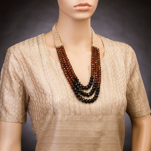 Three String Vivid Necklace 02 Brown