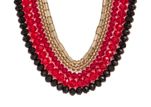 Five String Festive Necklace 01 Maroon