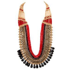 Seven String Rani Necklace 1001 Black Red
