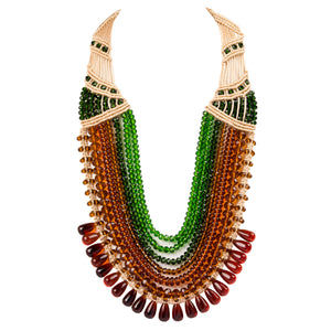 Seven String Rani Necklace 0203 Amber Green