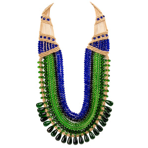Seven String Rani Necklace 0305 Green Blue