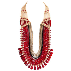 Seven String Rani Necklace 0110 Maroon Black