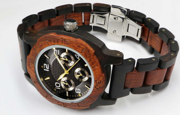 Men's Multi-Function Rose Ebony Wooden Watch