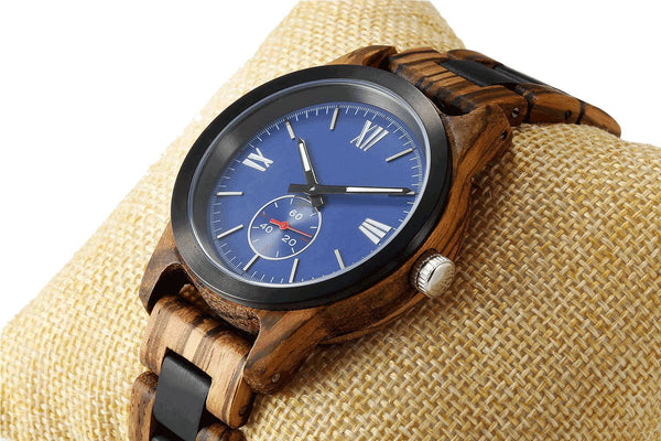 Men's Handcrafted Zebra Ebony Wood Watch