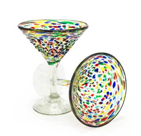 Confetti Recycled Glass Martini Glasses - Set of 2