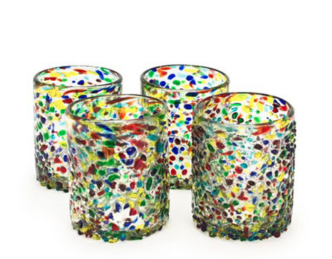 Confetti Recycled Glass 12 Ounce Tumblers