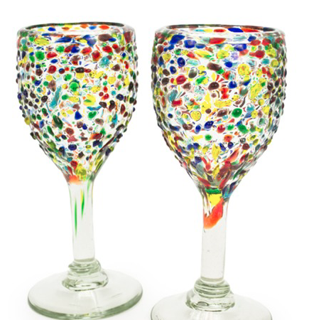 Confetti Recycled Glass Wine Glasses - Set of 2