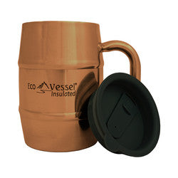 Eco Vessel DOUBLE BARREL Double Wall Insulated Stainless Steel Beer / Coffee Mug with Lid  - 17 ounce/500 ml