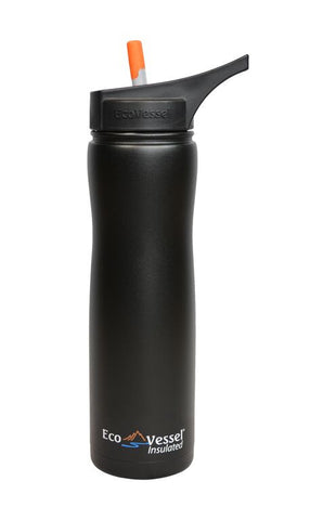 Eco Vessel SUMMIT Vacuum Insulated Stainless Steel Water Bottle with Flip Straw Top - 17 oz/500mL or 24 ounce/700 ml