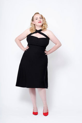 VavaVoom Flare Stretch Dress (Black)