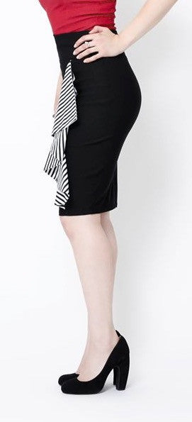 Scarlet Stretch Pencil Skirt (B&W)