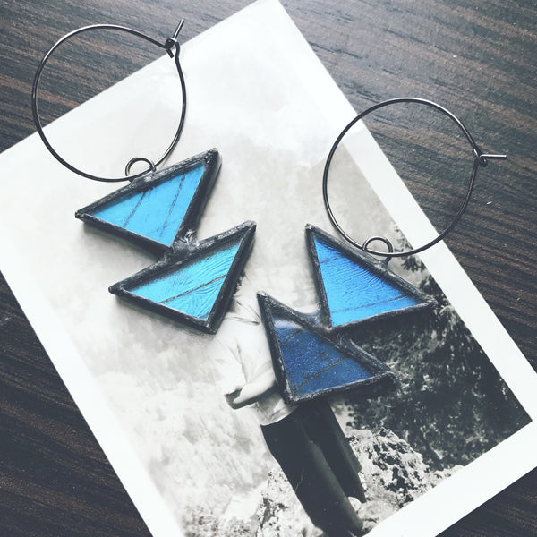 Tiered Blue Morpho Triangle Hoop Earrings
