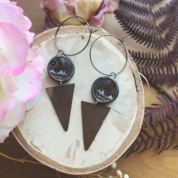 Morpho Achilles + Brass Triangle Hoop Earrings