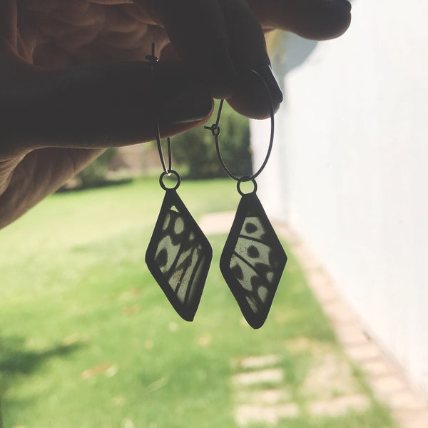 Asymmetrical Rice Paper Butterfly Diamond Earrings