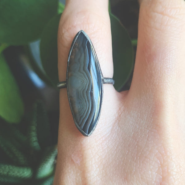Banded Agate Marquis Ring - Size 6
