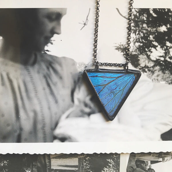 Morpho Adonis Equilateral Triangle Pendant