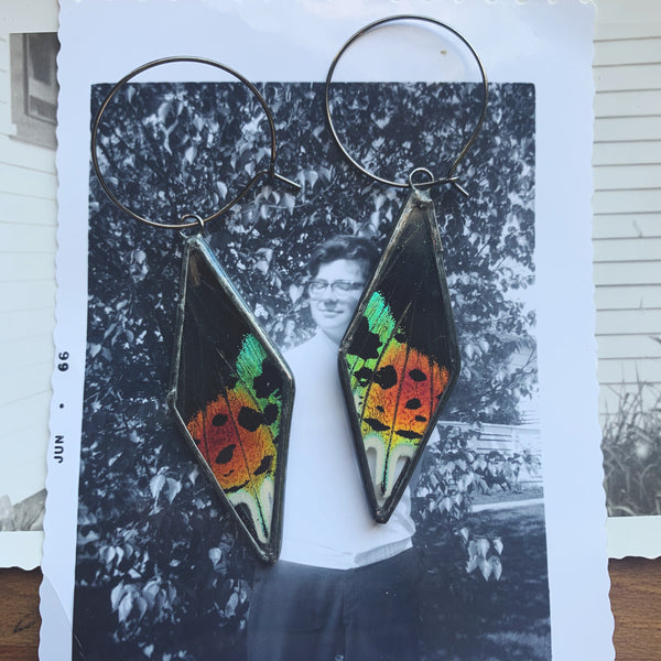 Rainbow Sunset Moth Kite Diamond Hoop Earrings