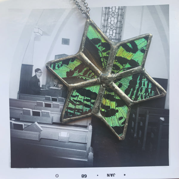 Emerald Sunset Moth Lotus Star Pendant
