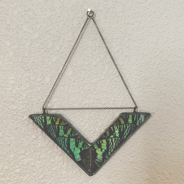 Emerald Green Sunset Moth Wings Wall Hanger