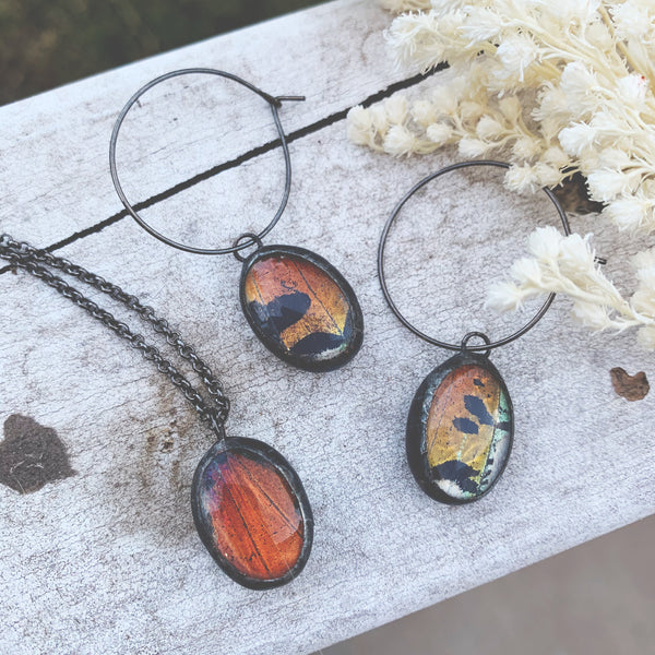 Rainbow Sunset Moth Dew Drop Earring + Necklace Set