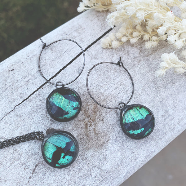 Green Sunset Moth Orb Earring + Necklace Set