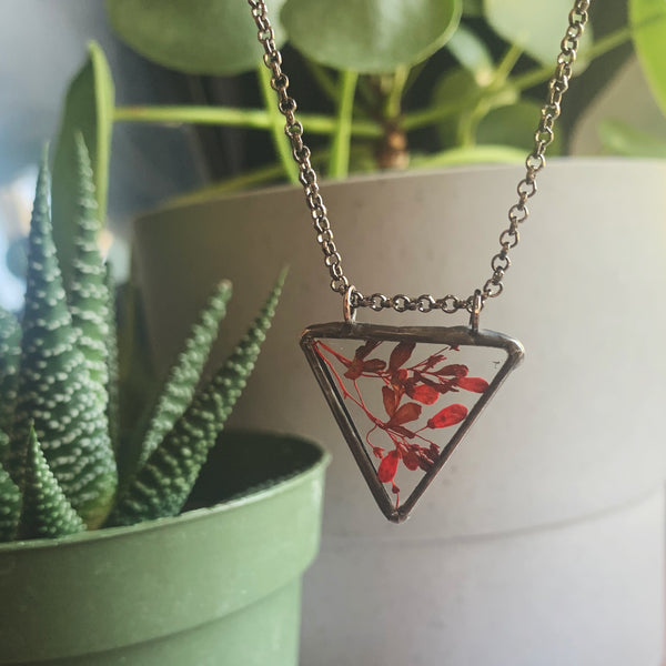 Red Floral Triangle Pendant