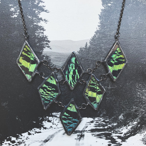 Emerald Green Sunset Moth Chainmail Collar