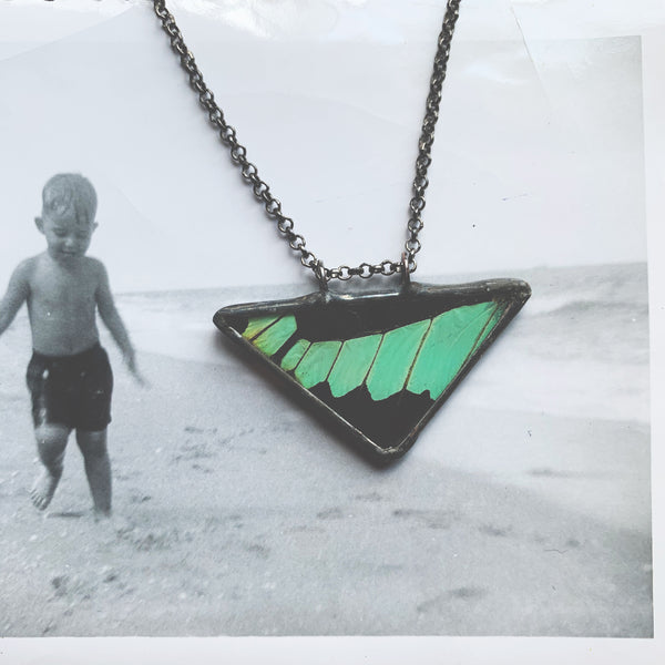 Apple Green Swallowtail Triangle Pendant