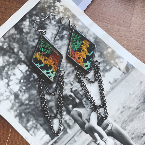 Dripping Diamond Rainbow Sunset Moth Earrings