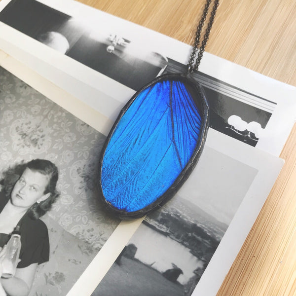 Large Morpho Didius Oval Statement Pendant