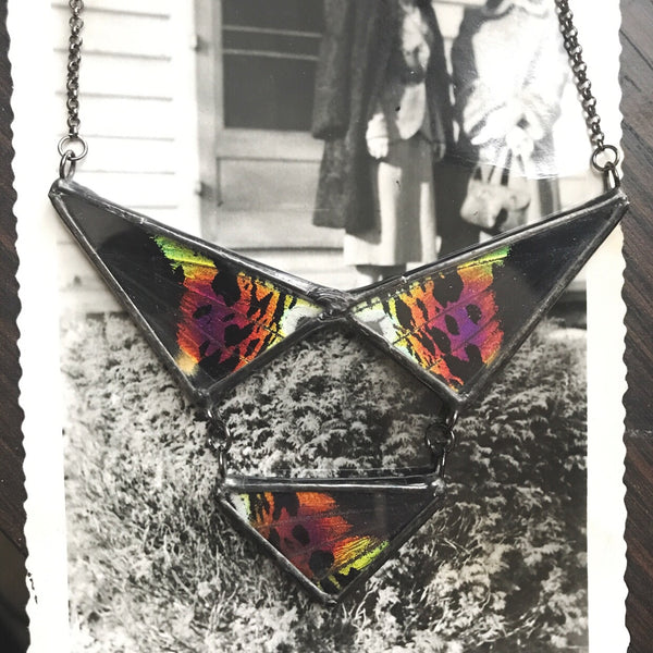 Rainbow Sunset Moth Triple Collar