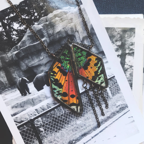 Art Deco Sunset Moth Statement Pendant