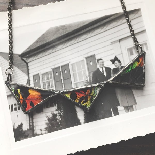 Rainbow Sunset Moth Mini Collar