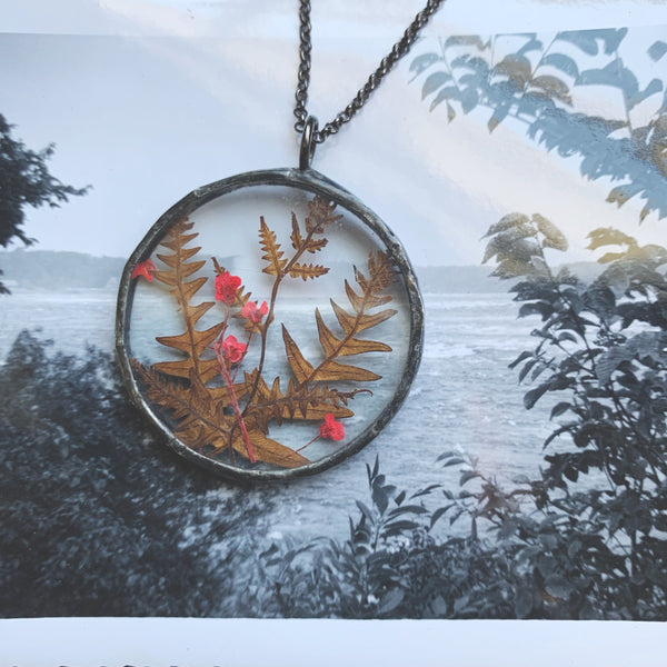 Woodland Fairie Pressed Ferns & Florals Window Pendant