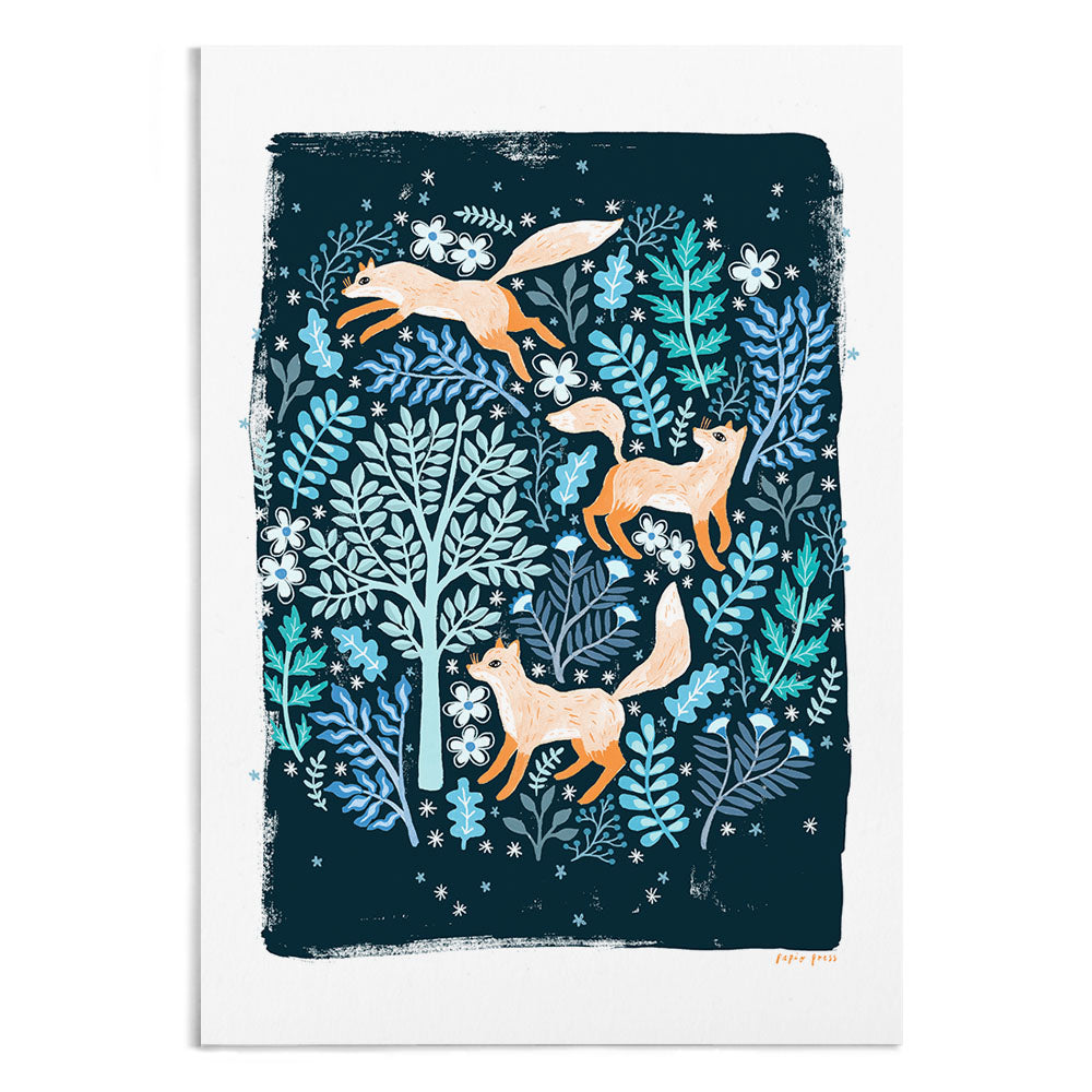 A painting of 3 orange foxes on a dark background. They're surrounded by blue trees and foliage.